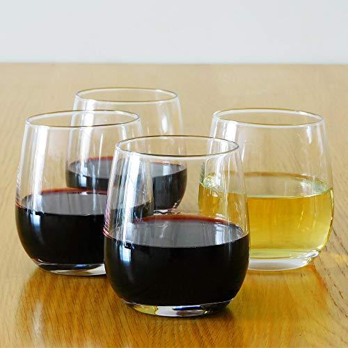 12 Ounce Stemless Wine Glasses / Whiskey Glasses / Beverage Glasses, Set of 4 Great For Drinking...