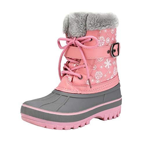 DREAM PAIRS Girls Faux Fur-Lined Insulated Waterproof Winter Snow Boots Kriver-3 Pink Size 6 Big Kid