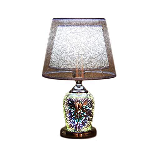 Lámpara de mesa Lámpara de escritorio Lámpara de mesa Lámpara de cabecera Lámpara retro Lámpara de sobremesa de vidrio cálido Sala de estar Estudio Moderno dormitorio pirotécnico 3D Lámpara de cabecer