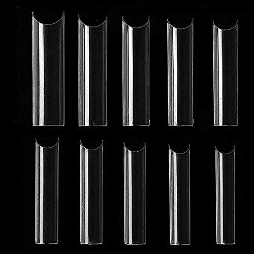 500 Pcs Nail Tips Natural Fake Nails - Extra Long C Curve Tapered Square False Tips Cover Half Nail, Transparent False Nails, for Nail Salons and DIY Nail Art