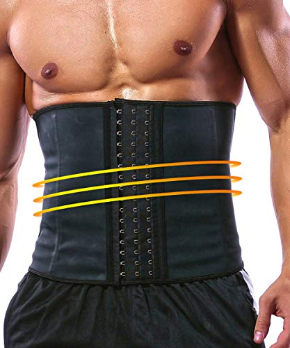 GainKee Latex Men Waist Trainer Corsets With Steel Bone Sweat Sauna Suit For Fitness (Large)