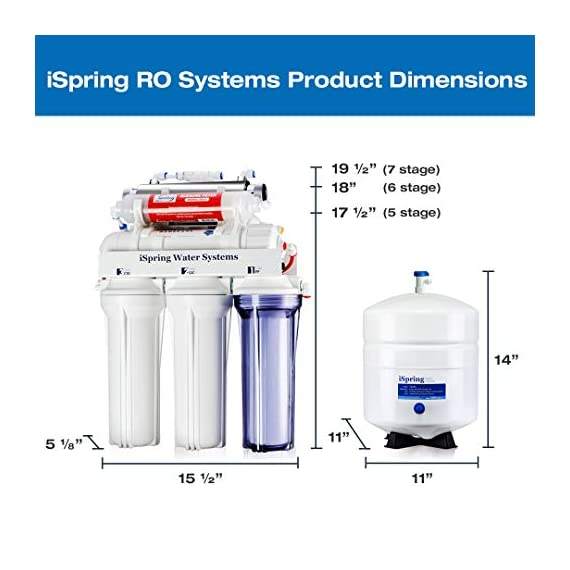 iSpring RCC7AK 6-Stage Under Sink Reverse Osmosis Drinking Water Filter System, NSF Certified, Superb Taste High… 8 Certified to NSF/ANSI 58, 6-Stage Alkaline Remineralization Layered Filtration: Exclusively designed to restore the natural alkalinity and mineral balance of water; this reliable and ultra-safe Reverse Osmosis (RO) water filtration system converts your water into clean, pure and healthy drinking water by removing up to 99% of over 1, 000 harmful contaminants like chlorine, fluoride, lead (removes up to 98%), arsenic, asbestos, calcium, sodium and more. BENEFITS: The iSpring RCC7AK water softener includes an additional sixth stage - an Alkaline Remineralization filter which restores healthy minerals and produces a balanced alkalinity, which gives your water a more natural taste than regular 5 stage RO water filter; the RO membrane removes not only harmful pollutants but also a few helpful minerals. As a result, a standard 5 stage RO system produces slightly acidic water with a pH of 7. 0 or below FEATURES: Beautiful European-Style kitchen faucet. Transparent 1st stage housing for easy visual inspection. Three extra long life pre-filters to remove large contaminants and protect RO membrane. Ultra fine (RO) filter to remove contaminants down to 0. 0001 microns; fine GAC filter to provide final polishing to the purified water and (AK) filter to finally restore just the right proportion of healthy minerals and a natural alkaline balance. The end result is great-tasting bottled-water quality