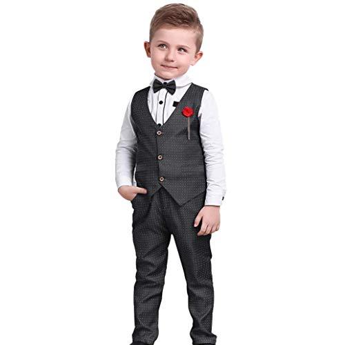 Nwada Anzüge für Jungen Bekleidungssets Kinder Junge Smokings Hosen Shirt Weste Sets Schwarz 5-6 Jahre