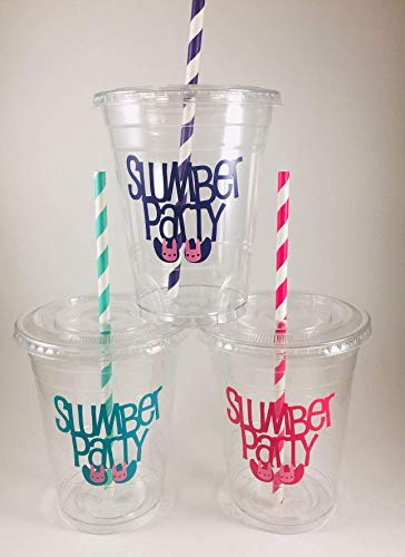 Slumber Party Cups SET of 12 with Lids and straws Sleepover Pajama Spend the night