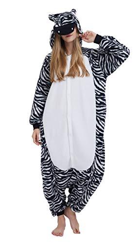 SAMGU Adult Pyjama Cosplay Tier Onesie Body Nachtwäsche Kleid Overall Animal Sleepwear Erwachsene Zebra M
