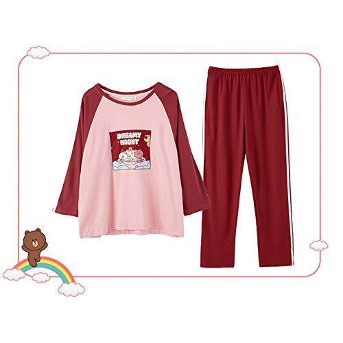 FLORVEY Pijama Ropa de casa de Franela de Cebra con Estampado Dulce Coreano Jerseys Suaves de otoño Conjuntos de Pijamas Mujer