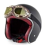 Evin 3/4 Motorradhelm, Unisex Adult Open Helm (T 50 Route 66) für Flugbrillen,XL