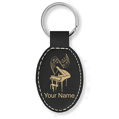 Oval Keychain, Grand Piano, Personalized Engraving Included (Black with Gold)