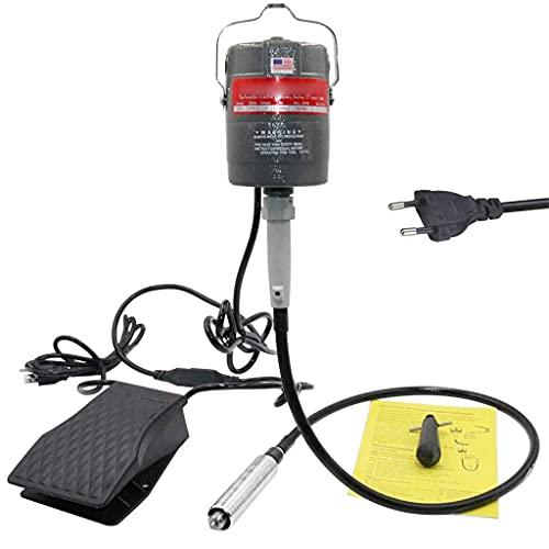 Amoladora Eléctrica con Motor Colgante De Eje Flexible, Kit De Herramientas De Tallado Flexible con Control De Velocidad del Pedal De Potencia Giratorio De 300 W De 24000 RPM, Amoladora Eléctrica De