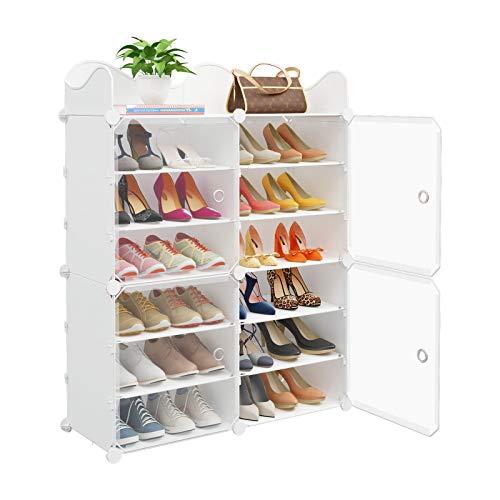 shoes shelves organizers MAGINELS Portable Shoe Rack, 24-Pair DIY Shoe Storage Shelf Organizer, Plastic Shoe Organizer for Entryway, Shoe Cabinet with Transparent Doors, White
