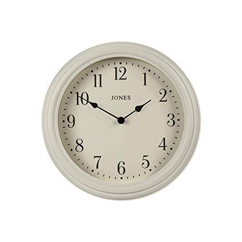 Jones Clocks® - Reloj de pared veneciano clásico con esfera transparente fácil de leer, para cocina, oficina, comedor, sala de estar, 30 cm (gris en polvo/números arábigos)
