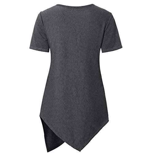 NPSJYQ Camiseta Premamá, Mujeres Maternidad Manga Corta Enfermería Bebé Lactancia Camiseta Embarazo Tops con Cuello Redondo Color Sólido Blusa con Dobladillo Irregular T-Shirt