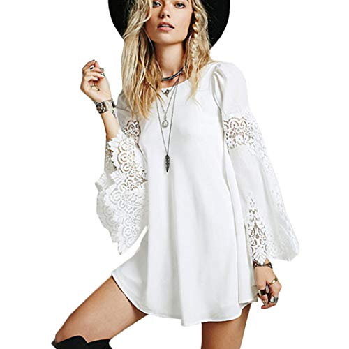 Damen Casual Lose A-Linie Kleid Langarm Chiffon Spitzen Stitch Minikleid Tops (XL, Weiß)