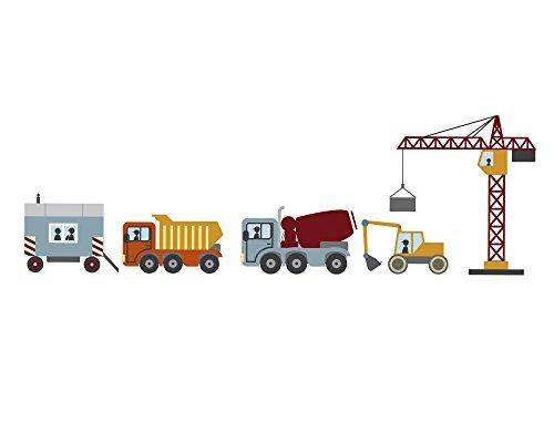 Wandmotive.de Wandsticker-Set Baustelle, Bagger, LKW und Kran als Wandbild für das Jungs-Kinderzimmer, in 3 Größen erhältlich