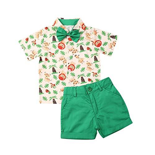 Conjunto de pantalón corto para bebé, verano, estampado Gentleman, manga corta, camiseta + pantalones cortos, juego de 2 piezas Camisa de león verde. 3-4 Años