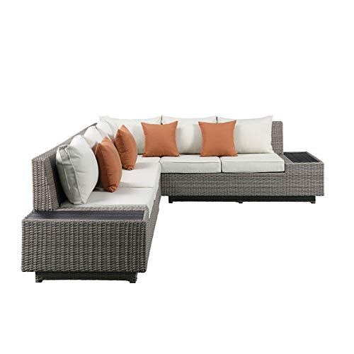 KYEEY Outdoor Furniture Patio Sets, Low Back All-Weather Small Rattan Sectional Sofa with Tea Table&Washable Couch Cushions&Upgrade Wicker