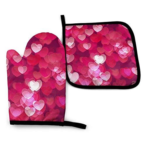 Guantes de Cocina y Juego de Mantel Individual Corazón de amor de San Valentíncon Silicona Antideslizantes para Cocinar, Asar(Juego de 2 piezas)