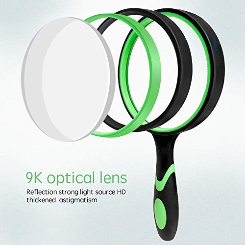 Wapodeai Shatterproof Magnifying Glass 4X Handheld Reading Magnifier for Seniors & Kids, 100mm Large Magnifying Lens with Non-Slip Rubber Handle for Reading and Hobbies(Green)