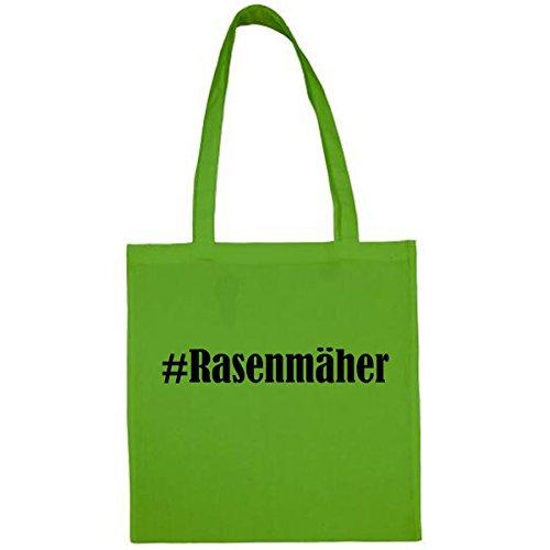 Tasche #Rasenmäher Größe 38x42 Farbe Grün Druck Schwarz