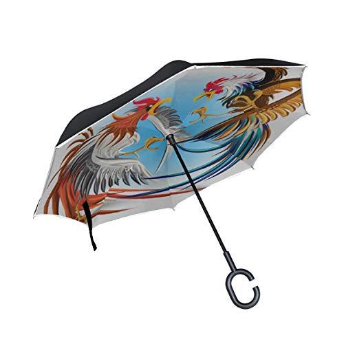 Ombrello invertito portatile a doppio strato Divertimento Fattoria Combattimento di galli Ombrello pieghevole Sedie pieghevoli Ombrello Antivento Protezione UV per pioggia con manico a C