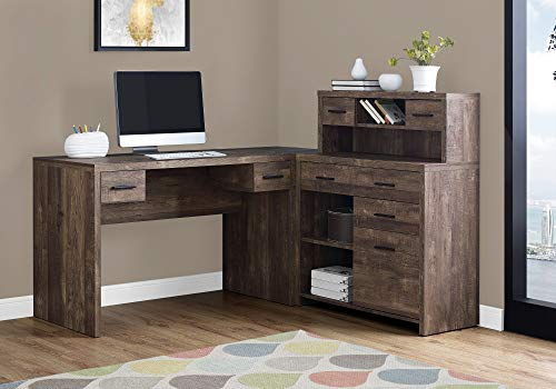Monarch Specialties Computer Desk L-Shaped - Left or Right Set- Up - Corner Desk with Hutch 60'L  (Brown Reclaimed Wood)