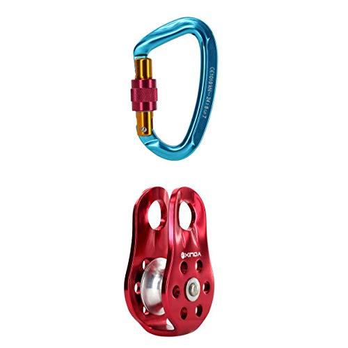 MagiDeal Kletterausrüstung Set: 24KN Screw Lock Karabinerhaken Schraubverschluss Karabiner + Klettern Seilrolle Umlenkrolle
