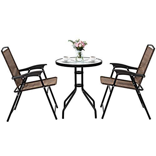 COSTWAY Juego Mueble de Jardín con 2 Sillas Plegables y 1 Mesa Grupo de Asientos para Balcón Bistró Piscina Terraza