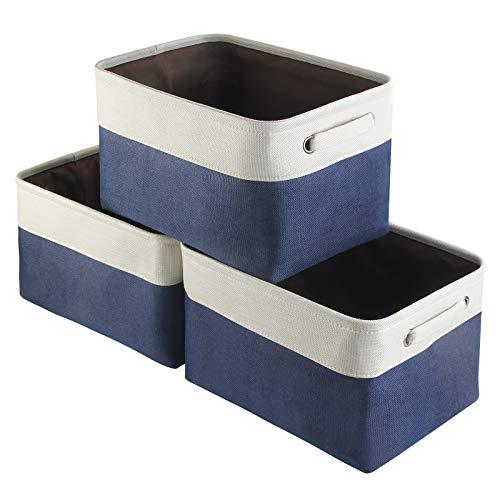 Awekris Caja de almacenamiento de tela, una cesta plegable de 3 piezas de lona con asas, cestas adecuadas para el hogar, armario, juguetes, ropa, habitaci¨®n de los ni?os, juego de 38 x 25 x 23 cm