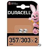 Duracell 357/303 Pile oxyde d'argent 1,55V, lot de 2 (SR44 / V357/ V303 / SR44W / SR44SW) pour montres, calculatrices et dispositifs médicaux
