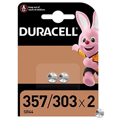 Duracell Pilas especiales de óxido de plata 357/303 de 1.55V, paquete de 2 unidades SR44/V357/V303/SR44W/SR44SW, diseñadas para su uso en relojes, calculadoras y dispositivos médicos