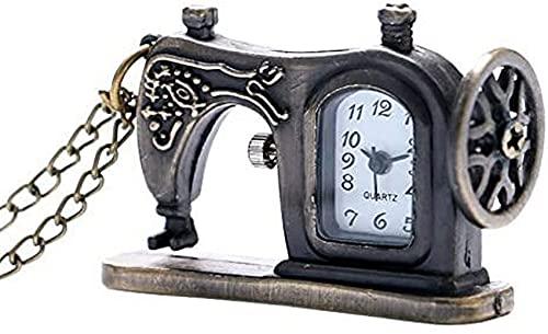 DNGDD Máquina de Coser de Bronce Antigua, Reloj de Bolsillo, Collar, Regalo pedante