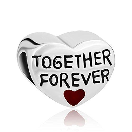 Myd joyas Love You de estar juntos para siempre corazón Spacer European Charms Pulsera de perlas de 2unidades