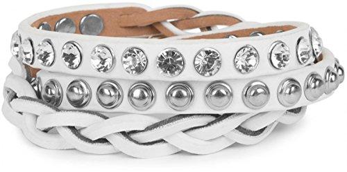 styleBREAKER Lederarmband mit Strass, Kugelnieten und Flechtteil, Wickelarmband, Damen 05040015, Farbe:Weiß/Nieten Silber