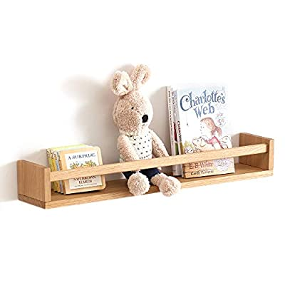 INMAN Floating Shelves, Wall Mounted Nursery Shelf-Wood Bookshelf Wall Shelves for Kitchen Spice Rack Bedroom and Living Room Baby Nursery Decor, 24 Inch,Natural