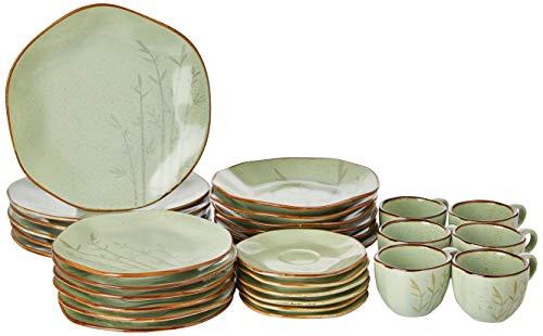 1 Aparelho De Jantar/chá 30 Peças Ryo Bambu - Rm30-9604 Oxford Ryo Verde E Marrom Escuro