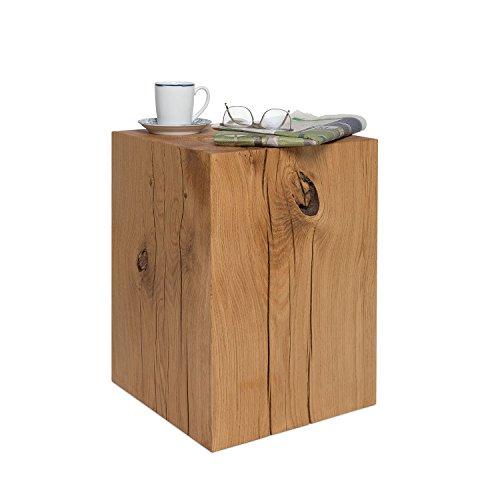 GREENHAUS Holzblock XXL Eiche Massiv 36x36x50 cm Handarbeit und Massivholz aus Deutschland Holzklotz Hocker Beistelltisch