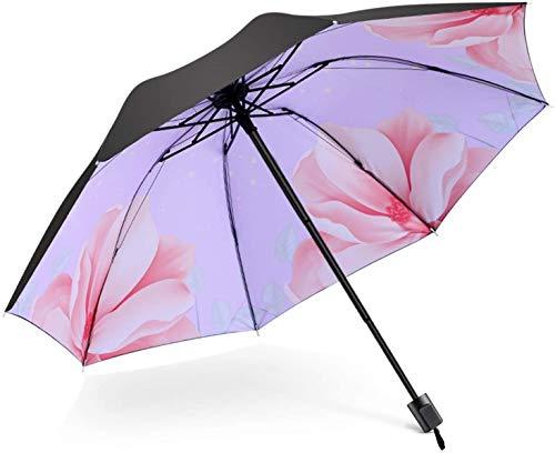 DIAK Paraguas portátil, Parasol con Cielo Estrellado, Paraguas Plegable Compacto, Apto para niños, niñas y niños, Begonia Flowers C, L