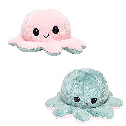 LA PUERTA MÁGICA Octopus Reversible Prime klein. Reversible Octopus, Reversible Gefüllte Octopus, Octopus Plüsch Gefüllte 13 cm, Originalgeschenk (Pink Green)