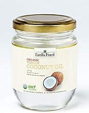 Earth's Finest Organic Virgin Coconut Oil - 200ml | Cold-Pressed Coconut Oil for Cooking, Hair, Body & Massage | Pure & Unrefined Coconut Oil