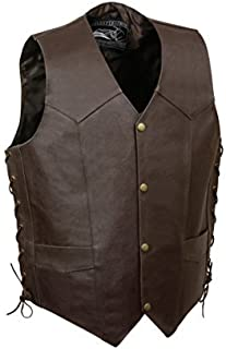 Event Leather Men's Skull and Bones Vest (Brown, X-Large) by EVENT LEATHER
