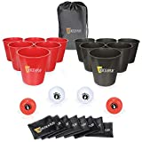 12pcs Giant Buckets and Balls Tossing Game Set with Carry Bag, Exercise N Play Yard Pong Tossing Game Set with Bean Bags for Family Friends Wedding Party Indoor Outdoor Beach (Red&Black)