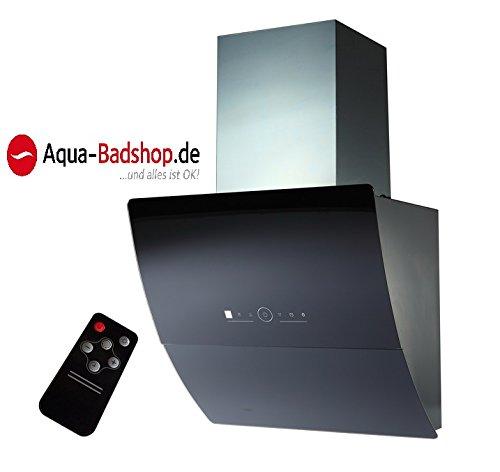 Quellmalz KOPFFREIHAUBE Wandhaube- Modell: Saturn 90 cm Breite 90 cm, Design Edelstahl schwarz beschichtet/Schwarzglas mit Fernbedienung-Schaltung Touchsensor