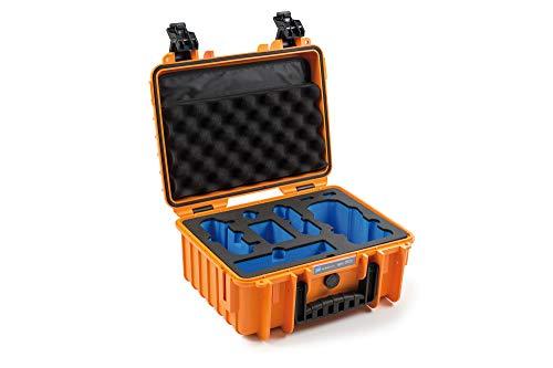 B&W Outdoor Cases Tipo 3000 Orange con dji Mavic Air 2 Inlay Maleta para dji Mavic Air 2 o dji Mavic Air 2 Fly More Combo, hasta 5 baterías.