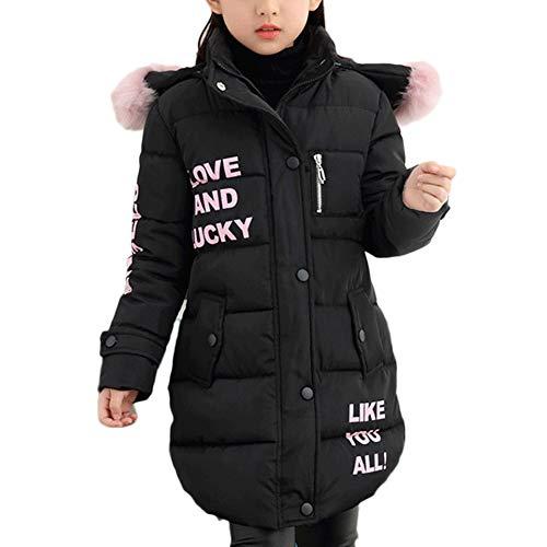 DaiHan Mädchen Lange Winterjacke Kinder Wintermantel Mit Falsch Fellkapuze Warm Jacke Schwarz 150CM