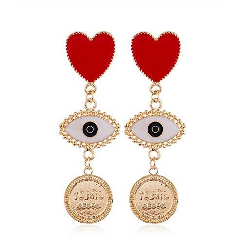 Piccoli orecchini a cuore rosso semplice temperamento piccoli orecchini personalità geometrica orecchini orecchini moda
