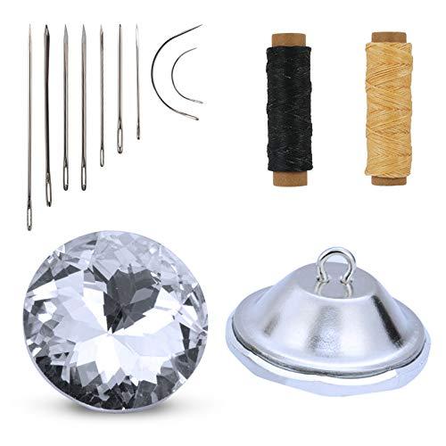 TAZEMAT 50pcs Botones Cristal Tapicería 25mm Brillante Botón Redondo Imitación de Diamante para Sofá Cabecero Silla con 2 Rollos Hilo y Aguja Costura Accesorios Decoración de Muebles