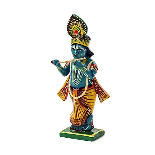 FANMEX - Fantastik - Figura Dioses hindúes de Madera - Estatuilla Dioses Indios Pintada a Mano - 15 x 5 x 6 cm. (Krishna)