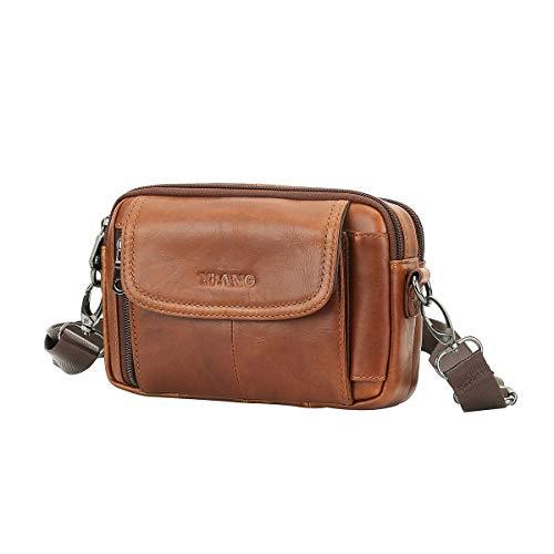 Leathario Bolso Cinturón de Cuero Riñonera para Hombre-Pequeña Bolsa de Bandolera-Funda para 4~6 Pulgada Phone (Marrón Amarillo)