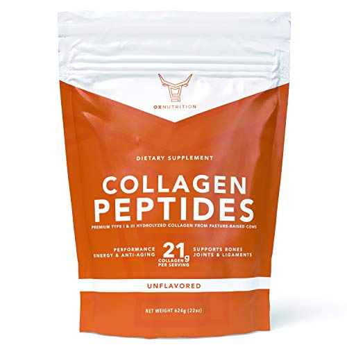 Pure Collagen Peptides Powder (22oz) | 3rd Party Tested | Dissolves Easily, Unflavored | Grass Fed, Pasture Raised | Hydrolyzed Collagen, 21g per Serving | Essential Amino Acids | Paleo & Keto