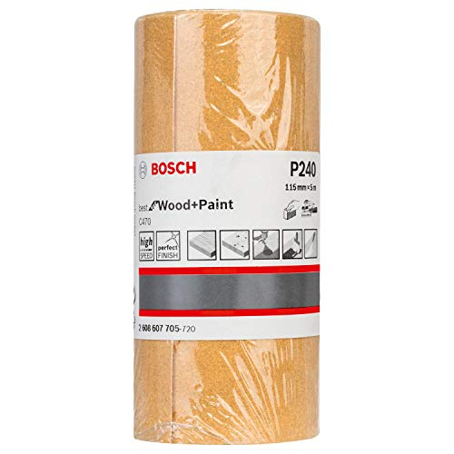 Bosch Professional Schleifrolle für Holz und Farbe (115 mm, 5 m, Körnung 240, C470)